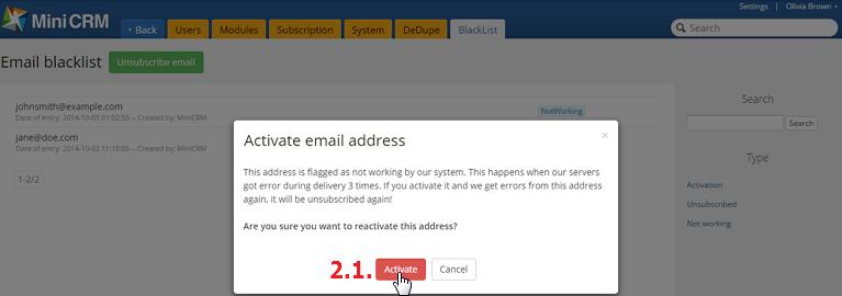 Email címek aktiválása