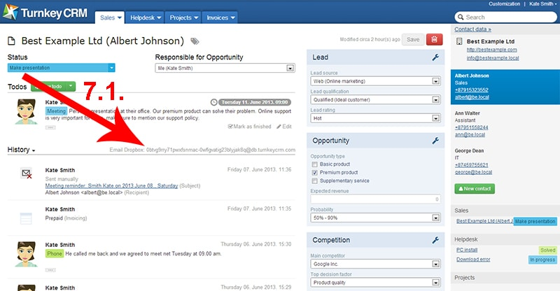Archiving e-mails related to the opportunity page