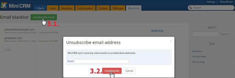 Email címek leiratkoztatása