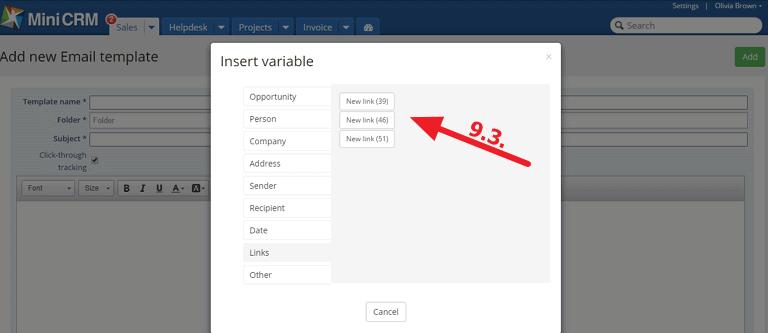 Adatmódosító link változó beillesztése